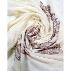AK16 - Embroidery Phoenix scarf (Cream)