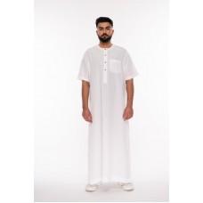 Al Noor - Half Sleeve White Thoub