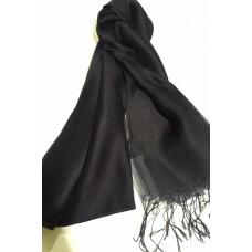 AK16 - Silk Tassle scarf Black