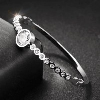 S.G Bangle Crystals Silver (Sabr)