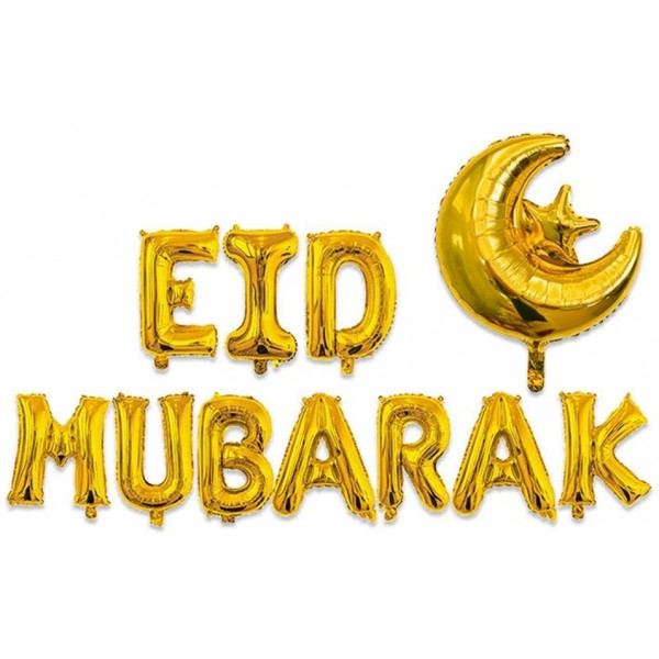 EID Mubarak Moon and Star Foil Balloons - Gold