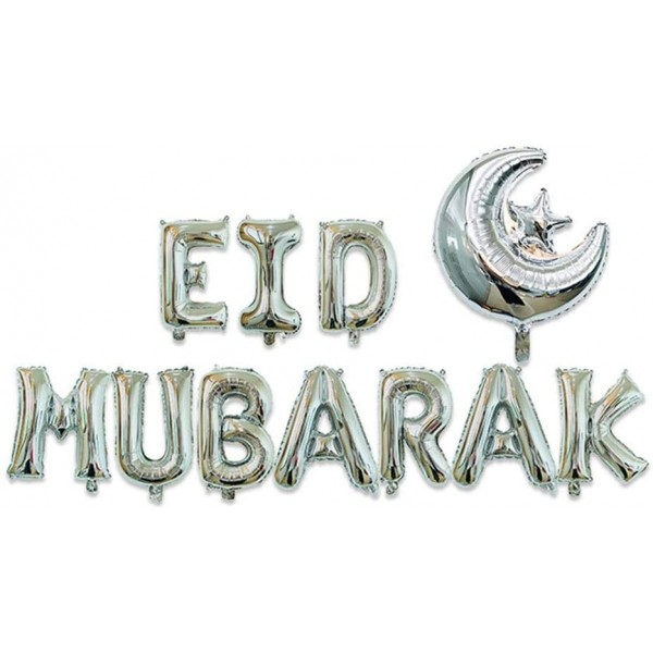 EID Mubarak Moon and Star Foil Balloons - Silver