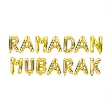 RAMADAN Mubarak Foil Balloons - Gold