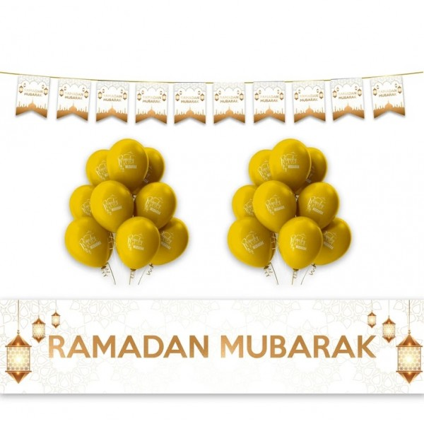 RAMADAN Mubarak Geometric & Lanterns Decoration Set - White & Gold