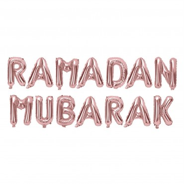 RAMADAN Mubarak Foil Balloons - Rose Gold
