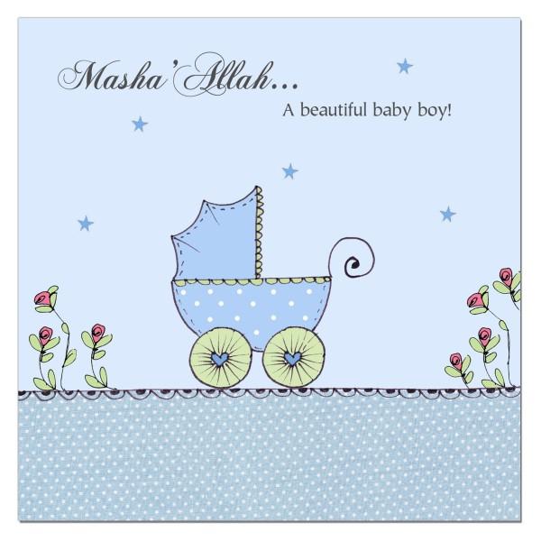 Masha'Allah Baby Boy - Blue Pram