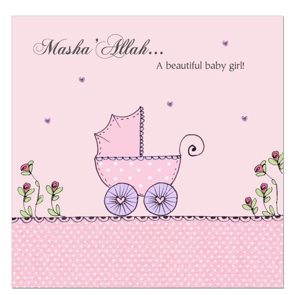 Masha'Allah Baby Girl - Pink Pram