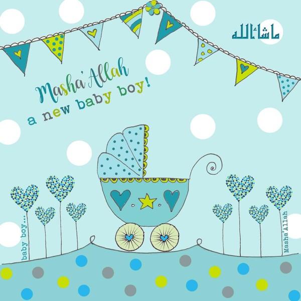 Masha'Allah Baby Boy - New Baby Card