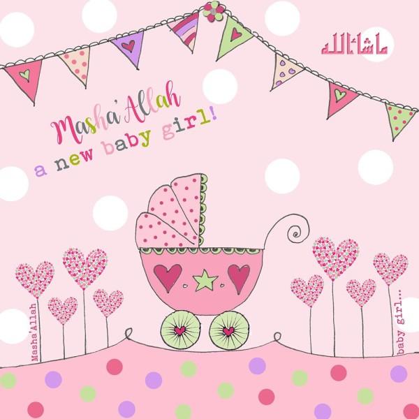 Masha'Allah Baby Girl - New Baby Card