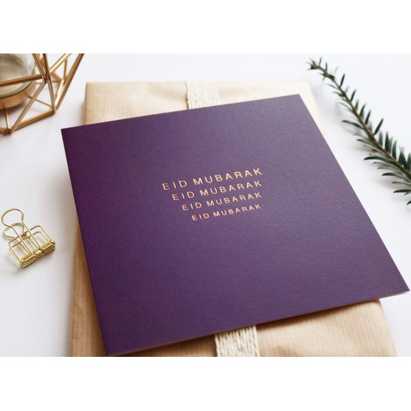 Eid Mubarak Purple Greeting Card Gold Foiled