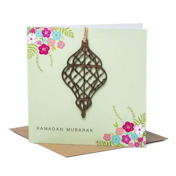 Card - Laser Cut Wooden Lantern Ramadan - Green