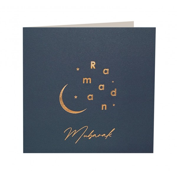 Ramadan Mubarak Gold Foiled Greeting Card in Navy Blue