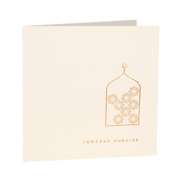 Ramadan Mubarak Gold Foiled Greeting Card in Cream