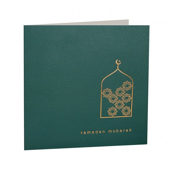 Ramadan Mubarak Gold Foiled Greeting Card in Forest Green