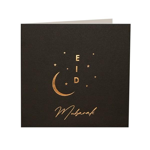Eid Mubarak Gold Foiled Greeting Card in Black