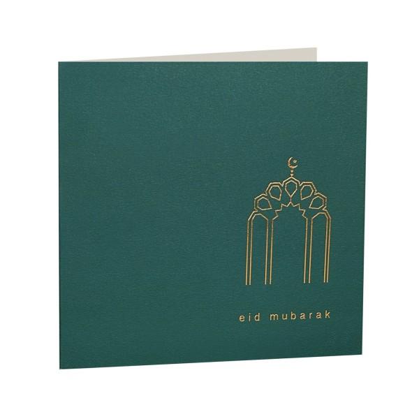 Eid Mubarak Gold Foiled Greeting Card in Deep Green