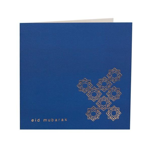 Eid Mubarak Gold Foiled Greeting Card in Cobalt Blue