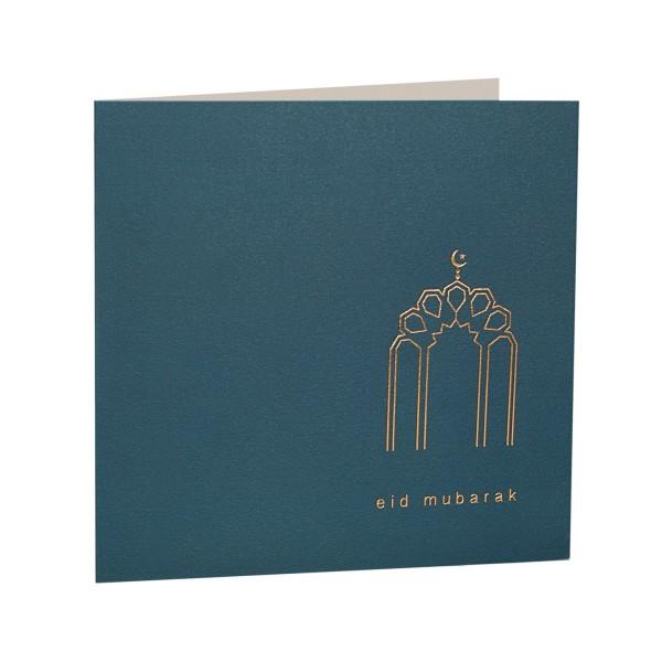 Eid Mubarak Gold Foiled Greeting Card in Petrol Blue