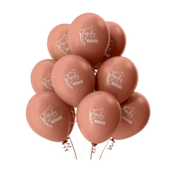 RAMADAN Mubarak Balloons (Pack of 10) - Rose Gold (MM)