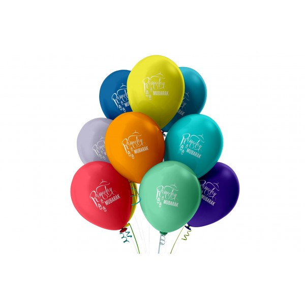 RAMADAN Mubarak Balloons (Pack of 10) - Multicolour