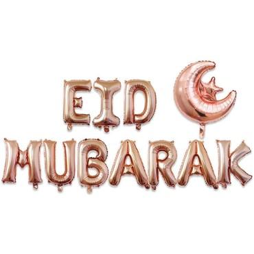 EID Mubarak Moon and Star Foil Balloons - Rose Gold