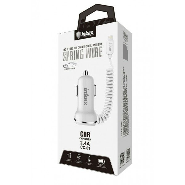 Inkax - Car Charger 2.4A Coiled SpringWire + USB (iPhone)