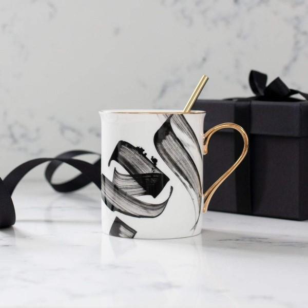 Al Hub Calligraphy Mug with Gold Handle and Rim