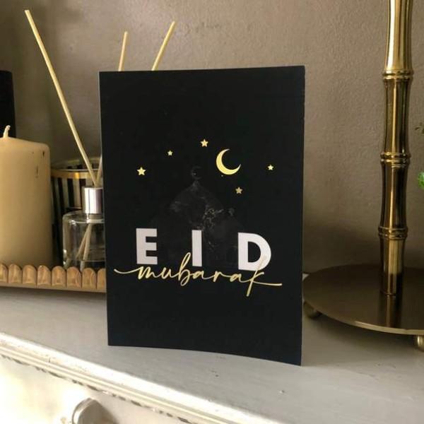 Card: A6 Gold Foiled Black Eid Mubarak Greeting Cards