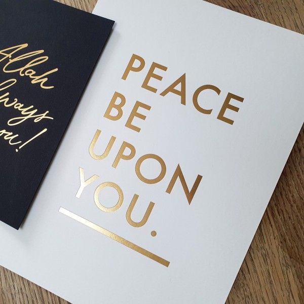 A5 Print White - Peace Be Upon you Gold Letter Press Print