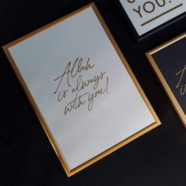 A4 Print White - Allah is always with you! Gold letter press print