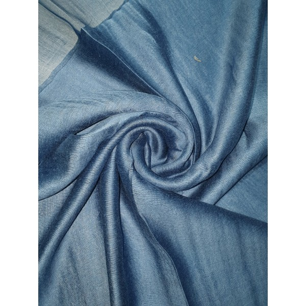 Silk Tassle scarf Teal Blue (Blue Border)