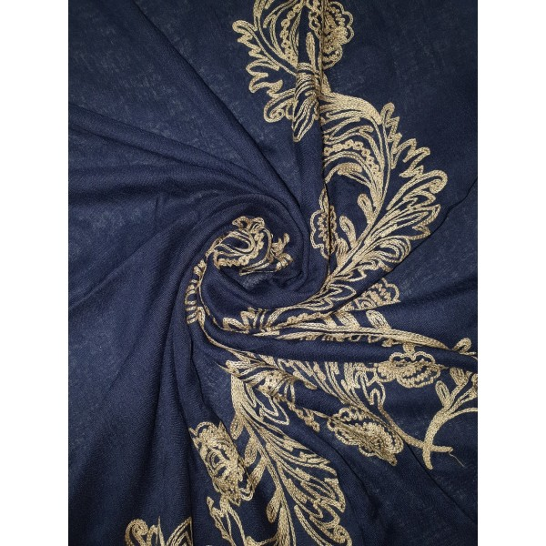 Embroidery Phoenix scarf (Navy)