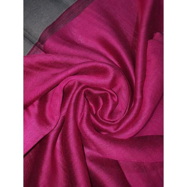 Silk Tassle scarf Hot Pink (Black Border)