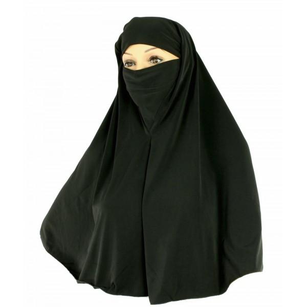 Yusra : Hijabs Black Cotton Niqab Hijab (5X)