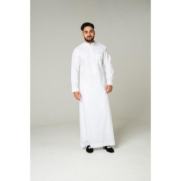 Al Noor - White Classic Collar Thobe