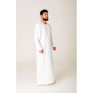 Al Noor - White Piping Stud Thobe