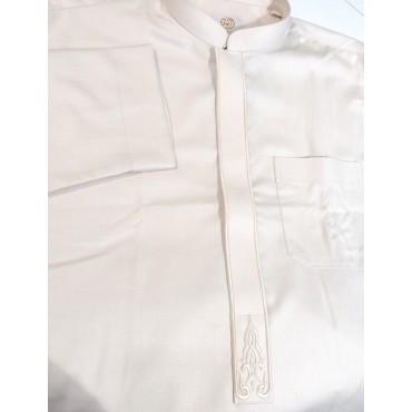 Al Noor2 - Plain Embroidery Zip Thoub Beige