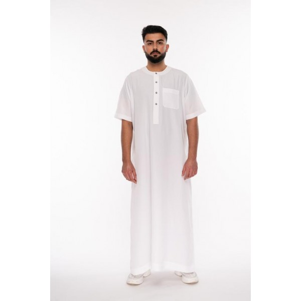 Al Noor - Half Sleeve White Thoub