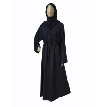 Classic Closed Abaya with Tassel Belt (Black)