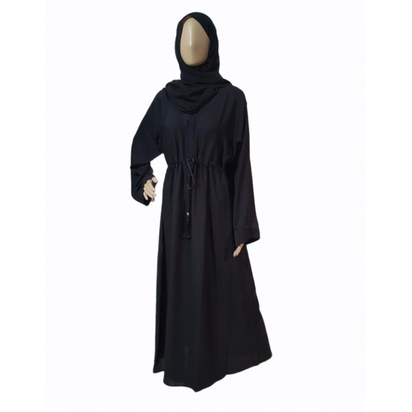 Classic Closed Abaya with Tassel Belt (Black)
