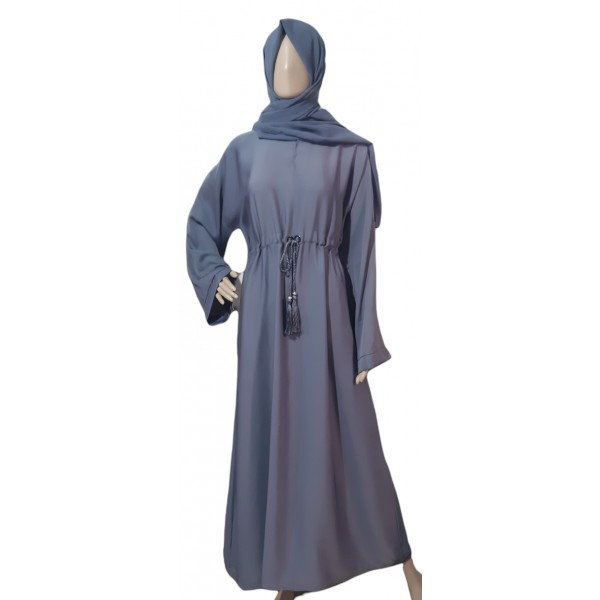 Classic Closed Abaya with Tassel Belt (Grey)