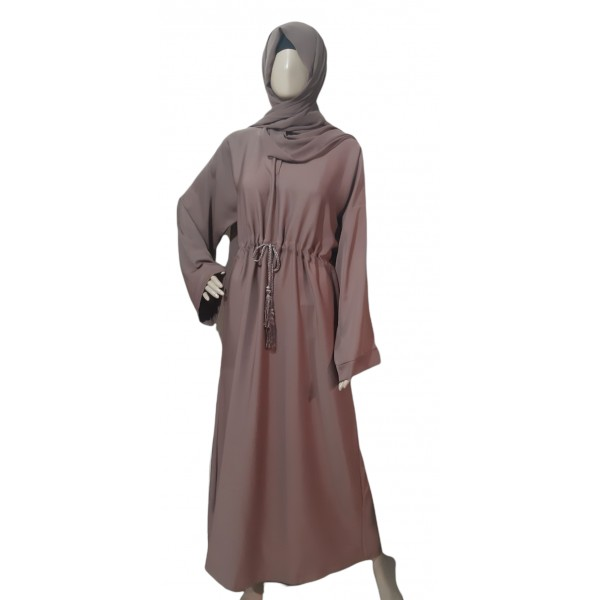 Classic Closed Abaya with Tassel Belt (Bronze)