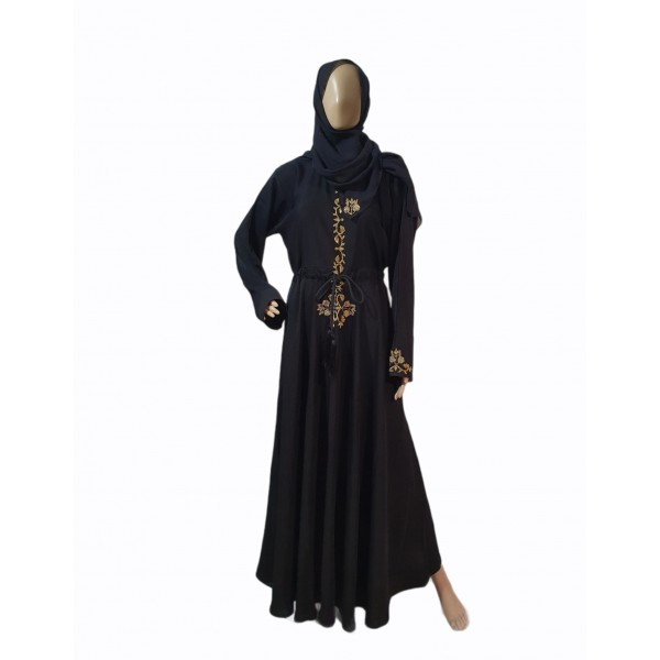 Gold Embroidery Abaya with String (Black)