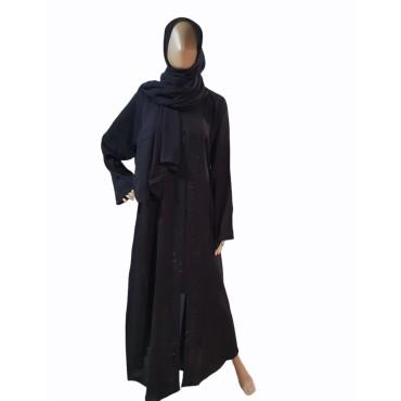Murrabi Stone Open Abaya (Black)