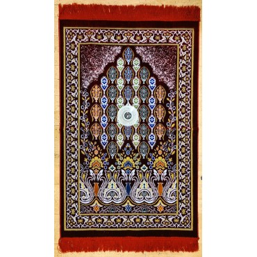Velvet Prayer Mat with Qibla compass