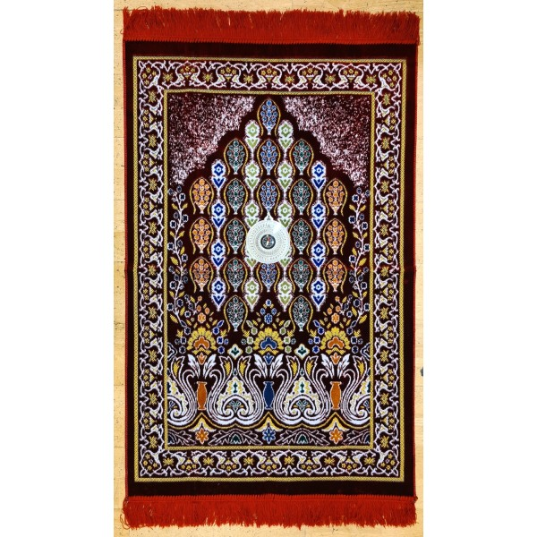 Velvet Prayer Mat with Qibla compass