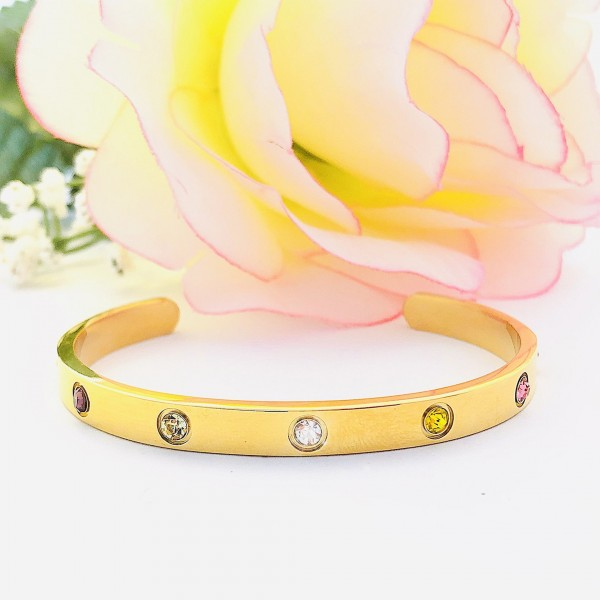 S.G Cuff Bangle Multi Gem 18K Gold (Tawakkul)