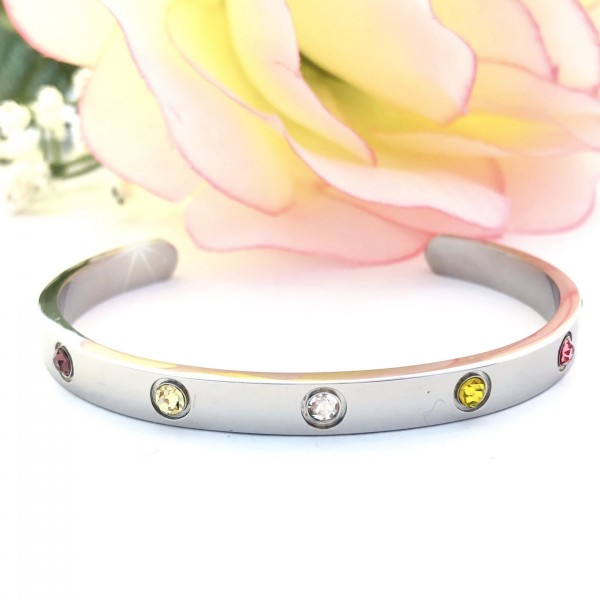 S.G Cuff Bangle Multi Gem Silver (Tawakkul)