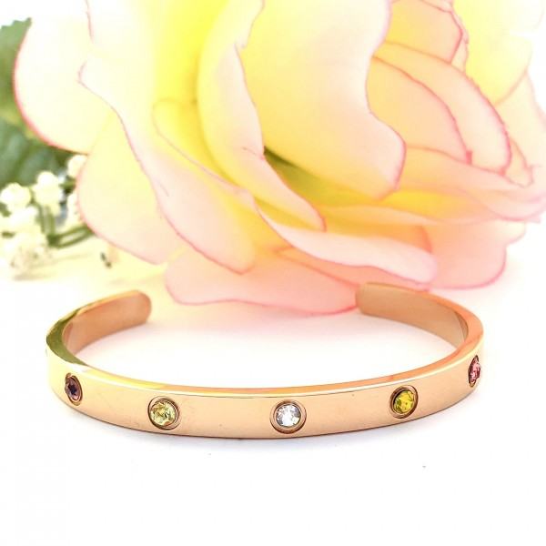 S.G Cuff Bangle Multi Gem 18K Rose Gold (Tawakkul)