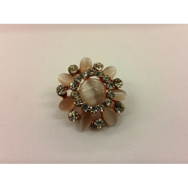AKJMOD1 Brooch Floral - Peach Pearls